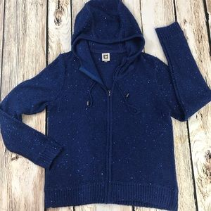 Anne Klein Med Zip Sweater Hoodie Navy Blue sequin